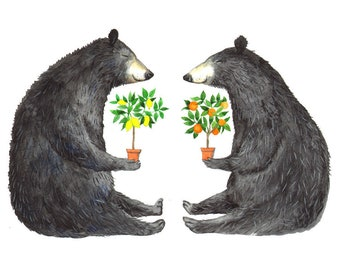"Signed A5 Giclee Print ""Fruit Tree Bears"" from an original watercolour painting. By Laura Robertson"