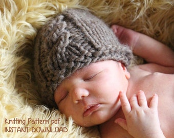 Cable Front Chunky Newborn Baby Beanie Knitting Pattern PDF 122 -- INSTANT DOWNLOAD -- Permission to sell hats --  Over 35,000 patterns sold