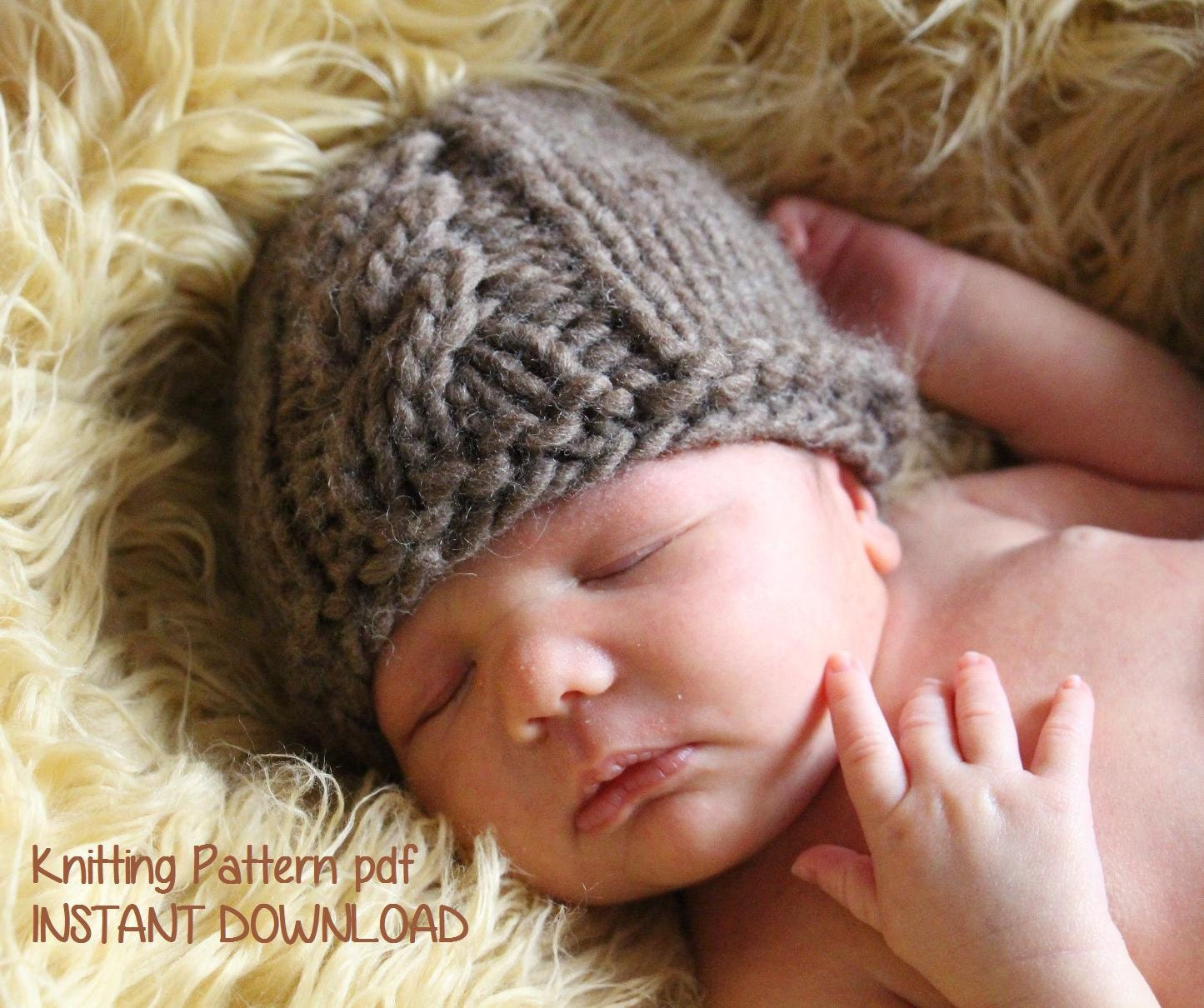 Cable Front Chunky Newborn Baby Beanie Knitting Pattern PDF