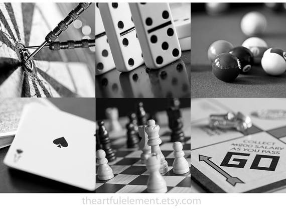 Game room decor, Home decor prints, Play room wall art, Board game art, Chess, Set of 6 prints / Classic games photo set