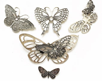 salvaged pristine silver tone metal colorless rhinestone contemporary butterfly jewelry components for repurposing--mixed lot of 5