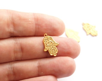 4pcs- Matte Gold plated Hand of Hamsa Charm- 20x12mm (011-020GP)