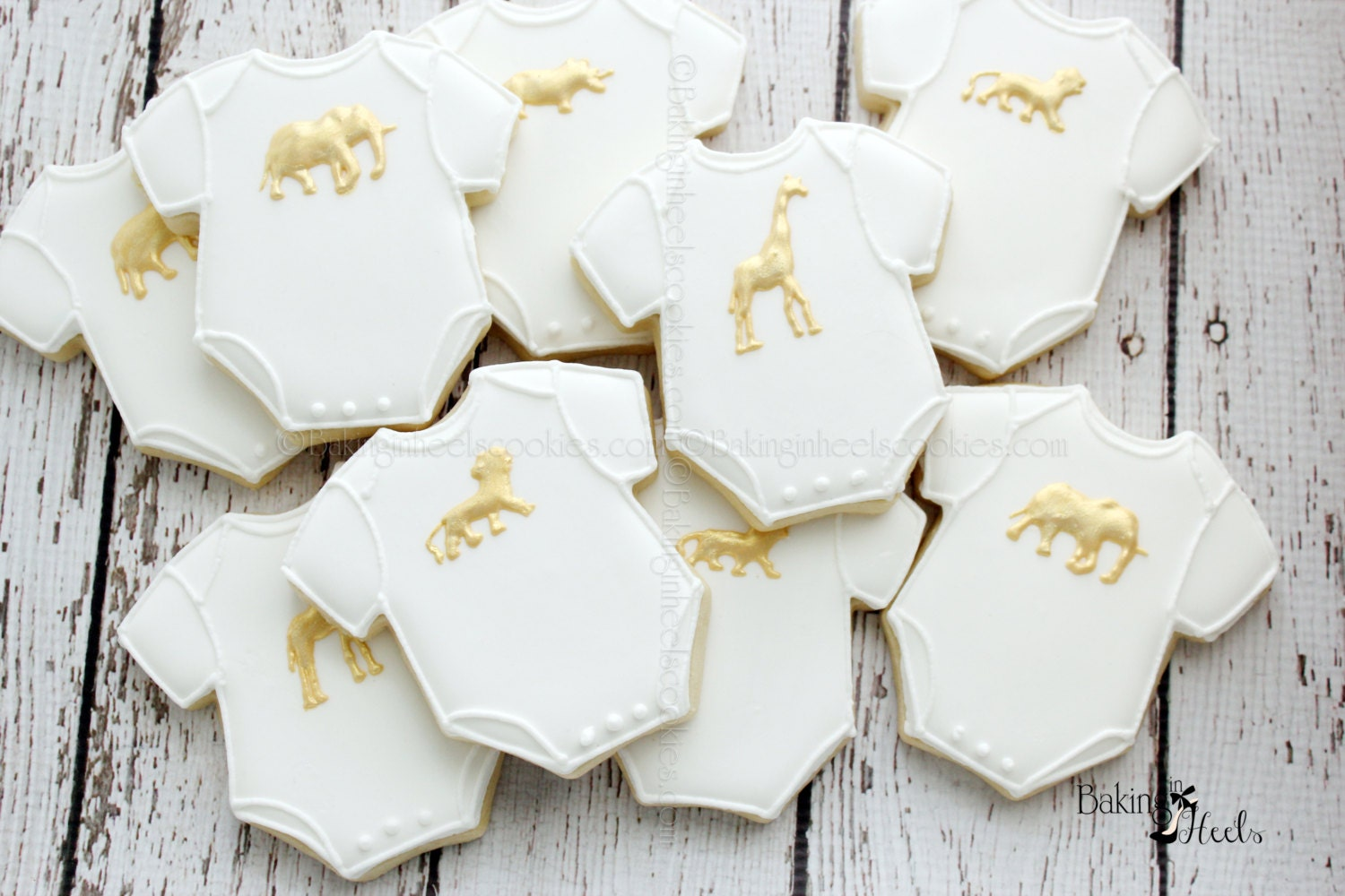 Baby Shower Cookie Images ~ Gold animal onesie baby shower cookies golden safari baby