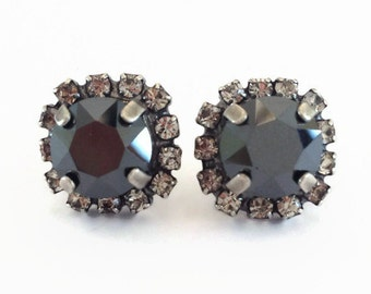 Jet Black Crystal Stud Earrings - Bridesmaid Jewelry - Black Studs -  Stud Earring - Halo Setting