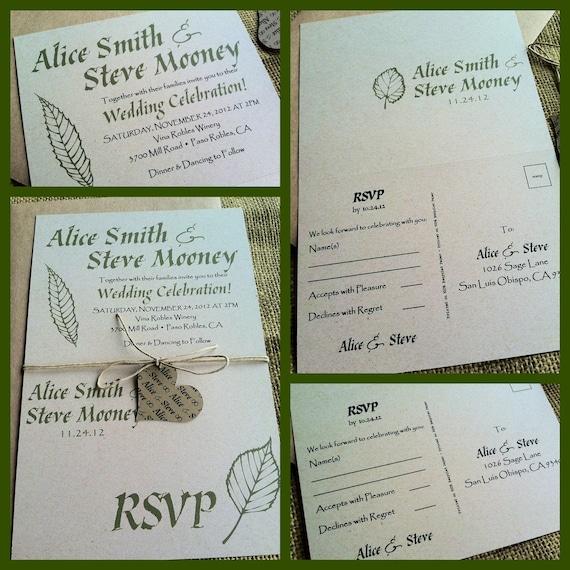 Wedding Invitations Eco Friendly: Rustic Wedding Invitations Eco-Friendly Fall Foliage