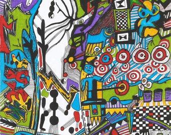 Original Abstarct Colour Ink Drawing