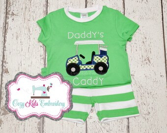 Daddys Caddy Pajamas, Summer Pajamas, Vacation Pajamas, Golf Pajamas, Boy's Pajamas, Custom Pajamas, Embroidery Pajamas, Applique Pajamas