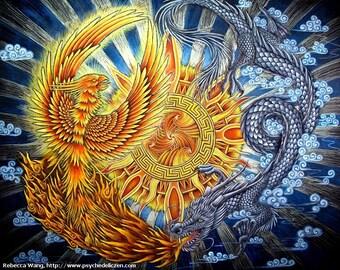 Phoenix and Chinese Dragon Fantasy Mythological Creatures Yin Yang Giclée Fine Art Print