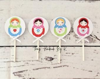 12, 18, 24 or 30 Matryoshka Cupcake Toppers with or with out Wrap, Matryoshka Birthday, Matrioshka Decoration, Matrioshka Party