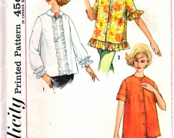 Simplicity 4539 Woman's Maternity Round Neckline A-Line Shirt, Ruffle Bottom Shirt, Button Front Shirt Sewing Pattern Size 10 Vintage 1960's