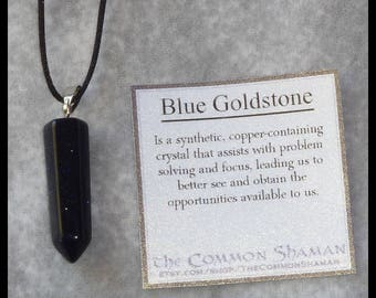 Blue Goldstone Crystal Necklace - gemstone point pagan talisman amulet shaman witch unisex ancient magic spiritual night sky stars navy