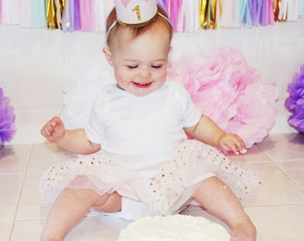 Baby Girl First Birthday Outfit   First Birthday Crown   1st Birthday Girl Outfit for Cake Smash   1st Birthday Hat   Baby Pink Gold