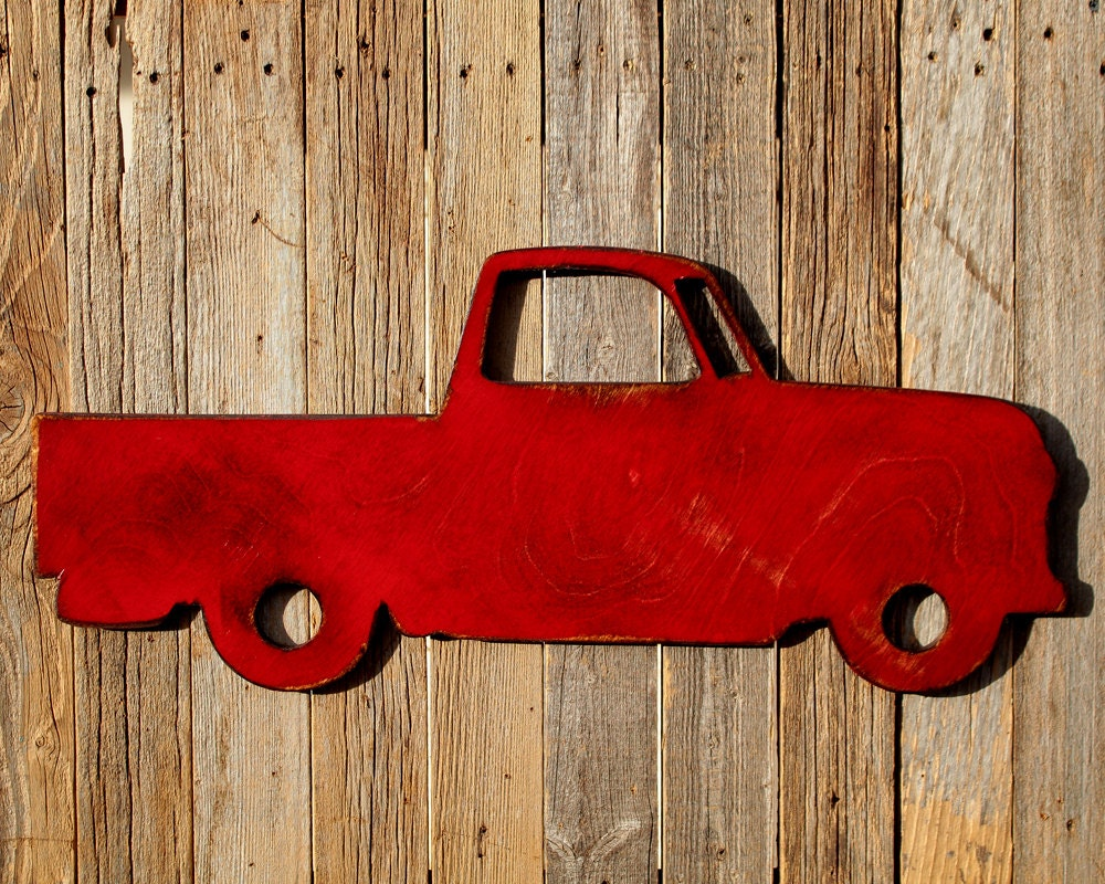 Red Metal Wall Decor: Red Truck Metal Wall Decoration