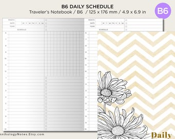 B6 DAILY View Schedule Traveler's Notebook Printable Insert - Do1P Minimalist Functional Clean
