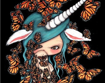 Butterfly Print Monarch Girl Art Wings Unicorn Image Girl Portrait LARGE PRINT 11 x 14