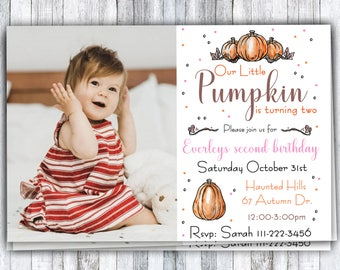 our Little Pumpkin Birthday Invitations, Invitation with Photo, Fall Autumn Birthday, Boy and Girl birthday party, Printable and Digital