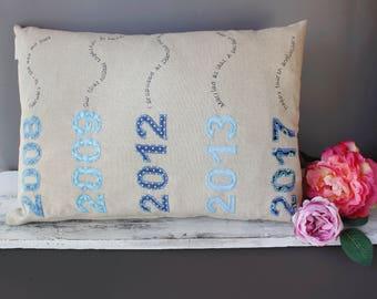 4th Wedding Anniversary Cushion / Wedding Anniversary cushion / linen anniversary gift / Personalised anniversary gift / 4th wedding