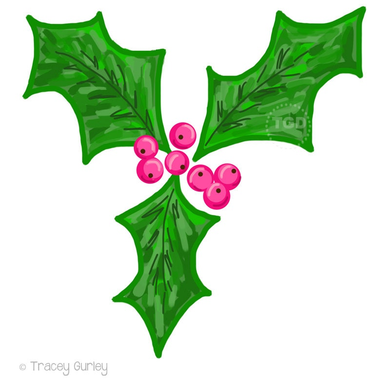 holly berry clip art holly clip art christmas clip art rh etsy com clipart christmas holly berries christmas holly clipart free borders