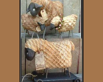 Primitive pull toy sheep instant download pattern HAFAIR OFG standing sheep FAAP