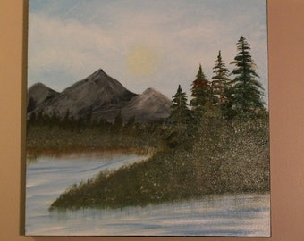 """Original Artwork - Acrylic Painting on Canvas - Landscape - 20"""" X 20"""" Gallery Wrapped Canvas - Titled """"The View"""""""