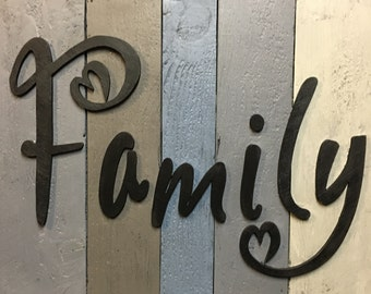 Family Cutout, Family Sign, Wooden Family Sign, Wood Word Cutout, Word Art