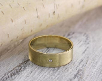 Diamond wedding ring, Matte finish ring, Men's diamond simple wedding band, Women diamond ring, Wide wedding ring, 14K solid Yellow gold