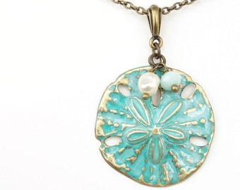 Sand Dollar Necklace - Blue Green Sand Dollar Jewelry - Antique Brass Sanddollar Pendant - Verdigris Color Beach Jewlery - Women's Gift