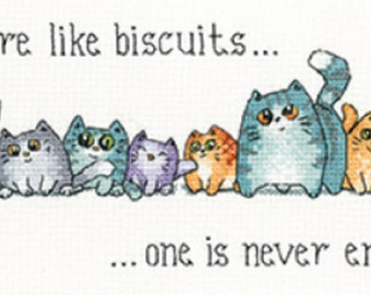 Heritage Crafts - Cats and Biscuits Cross Stitch Kit designed by Peter Underhill