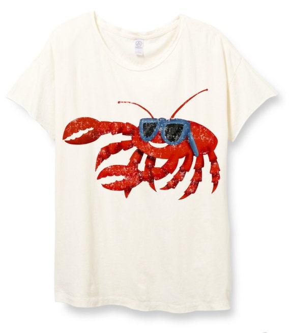 Womens Boho Vintage BEACH CRAB Beach Shirt Trendy Tumblr