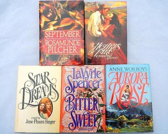 Vintage Set of Five Hardcover Romance Novels by Various Authors