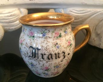 Antique German Shaving Cup / Floral Chintz Shaving Mug / Victorian Shaving Mug / Pink & Gold Gilding / Porcelain Cup  - Beautiful Condition!