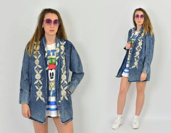 Black Denim jacket Coat vintage hipster parka grunge Rocker jeans windbreaker zip up 1990's unisex oversized f0guypzsD