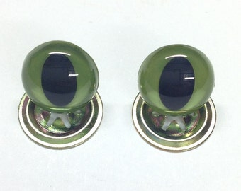 16.5mm Green Cats Safety Crystal Eyes with Metal Backs for Teddy Bear/Animal Soft Toy Making
