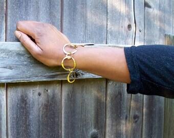 Bold Gold - Gold Tone Hammered Hoops Bracelet SRAJD
