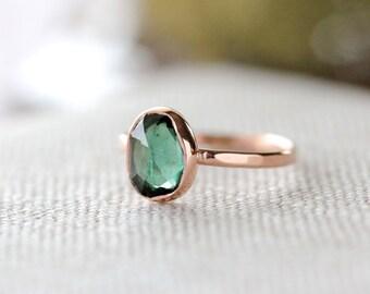 Custom Rose Cut Green Tourmaline Ring in 14k Gold - Made To Order