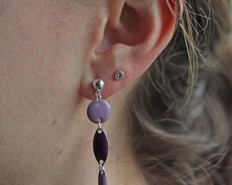 Purple, violet enameled beads earrings