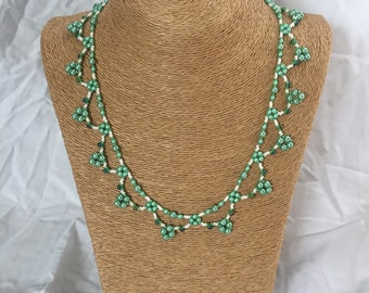 beaded necklace green and white beaded necklace white seed beads green pearls green drop beads lace like necklace dainty beautiful