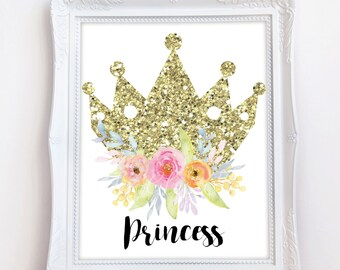 Princess Crown Print, Nursery Print, Baby Print, Instant Download, 8 x 10 Digital Print, Gold Crown Print, Nursery Wall Decor, Princess Baby