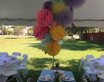 Tulle poms and honey comb balls for Weddings, Birthday parties Baby showers , and more..