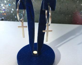 Silver earrings hoops with cross. Earrings hoops. Handmade. Ideal for gifts.