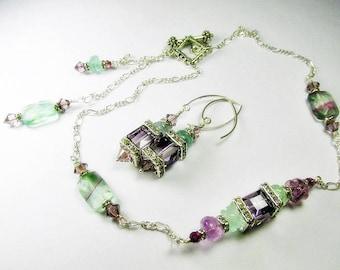 Plum Purple and Light Green Fluorite Gemstone Swarovski Cube Versatile Asymetrical Geometric Necklace and Earring Set - Can be worn 4 ways