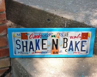 License Plate Sign License Plate letter Art Picture Home Shake N Bake License Plate Letter Sign family sign