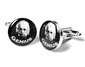 Einstein Genius Cufflinks, Scientist Cufflinks, Science, Geek Gifts, Mens Cufflinks, Resin, Handmade, Albert Einstein