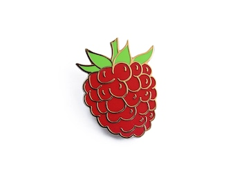 Raspberry Basket Enamel Pin - Fruit Lapel Pin // Hard Enamel Pin, Cloisonné, Pin Badge