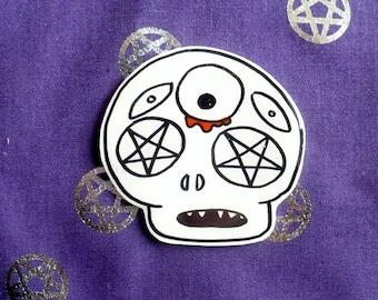Skeleton eye brooch, Stay creepy, halloween pin, Holographic glitter, spooky set, tumblr, 90's pin style, halloween, jean jacket