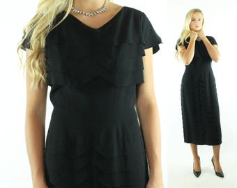 Vintage 50s Wiggle Dress Short Sleeve LBD Little Black Dress 1950s XL Plus SizePinup Rockabilly Holiday Party Fashion