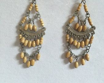 Wooden Chandelier Earrings
