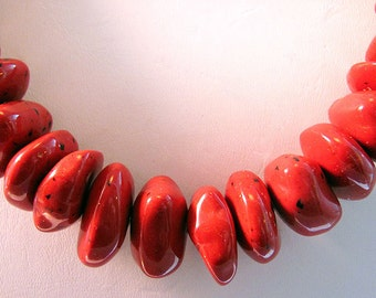 Red Speckled Nugget Spacer Acrylic Fashion Beads
