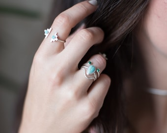 Sterling silver, turquoise, open ring, geometric, adjustable // AMULET OPEN RING