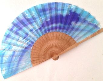 Hand fan of Mother's Day, Mother's Day Fan, Silk handle fan, hand painted fan, godmother hand fan, bride hand fan, birch handle fan, blue.